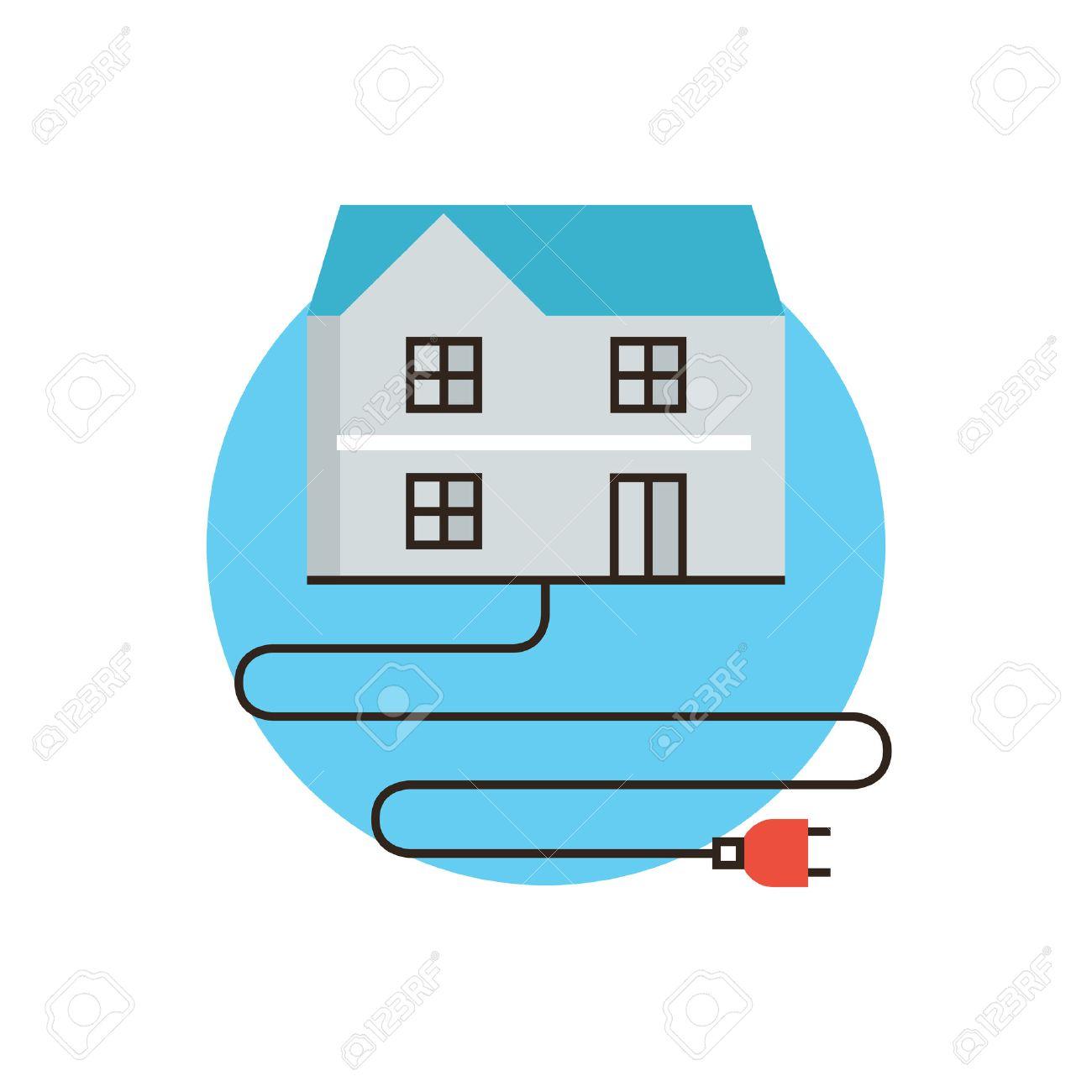 thin icône de la ligne avec des plats élément de conception de la ... - Consommation D Electricite Dans Une Maison