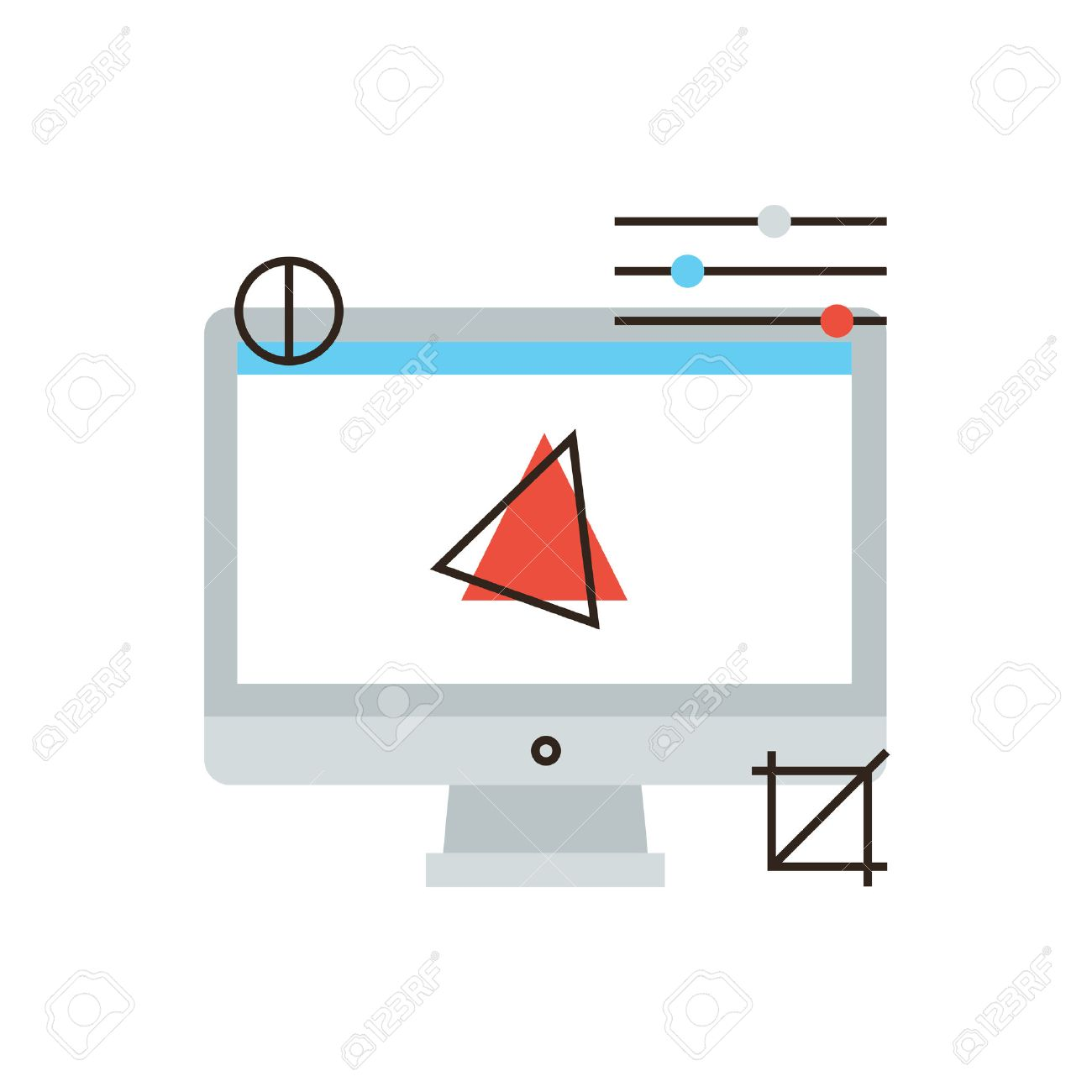 Thin Line Icon With Flat Design Element Of Computer Graphics Royalty Free Cliparts Vectors And Stock Illustration Image 38866987