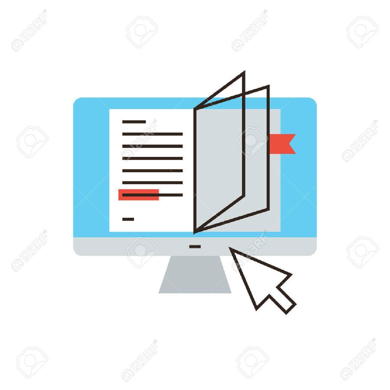 Thin Icone De La Ligne Avec Des Plats Element De Conception De L Etude Internet Livre En Ligne Tutoriel Lecture L Apprentissage A Distance Lire Le