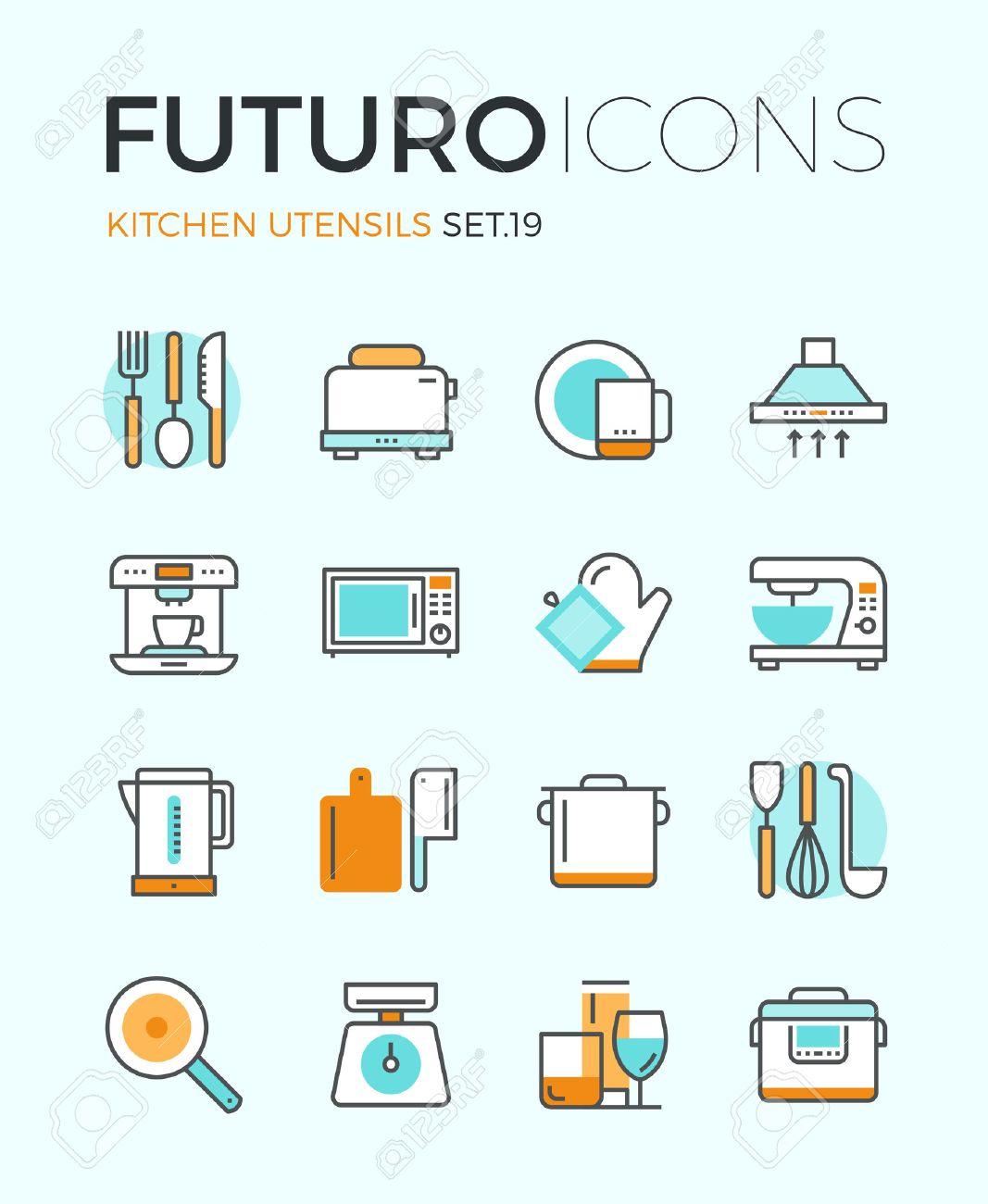 archivio fotografico icone line con elementi di design piatto di utensili da cucina articoli in vetro e la cucina stoviglie per la preparazione del cibo