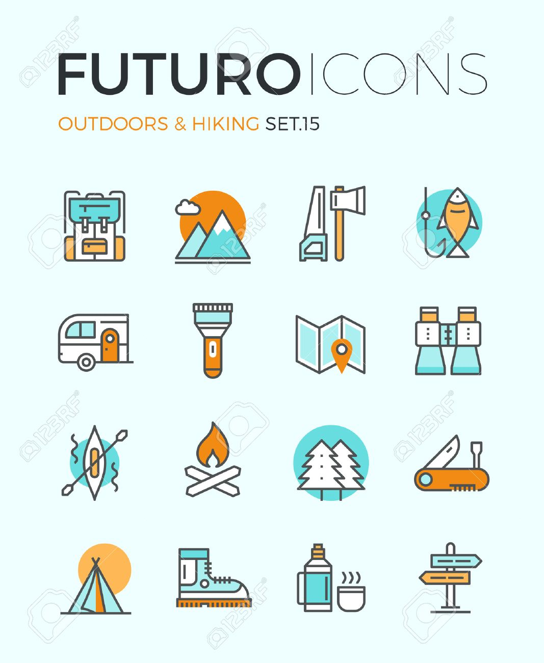 Line icons with flat design elements of camping equipment, hiking activity, outdoors adventure, mountain climbing, recreation tourism. Modern infographic vector logo pictogram collection concept. - 39558661