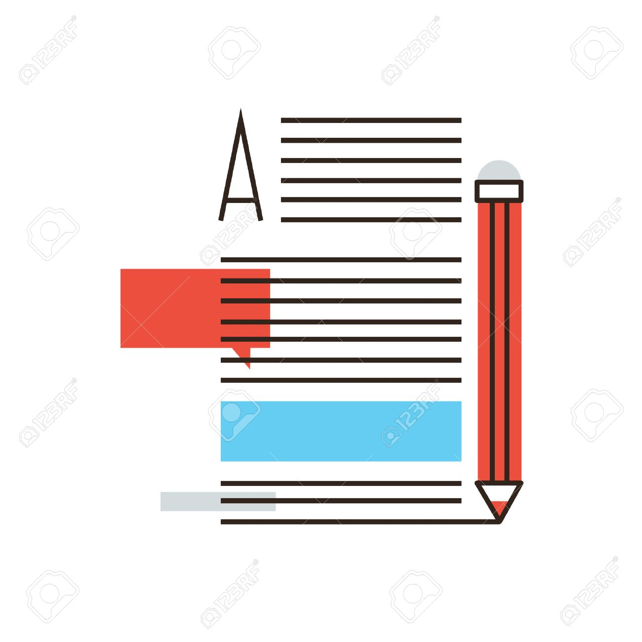 Thin line icon with flat design element of writing articles, internet blogging, text page of writer blog, media content, copywriting news, post info. Modern style logo vector illustration concept. - 39947563