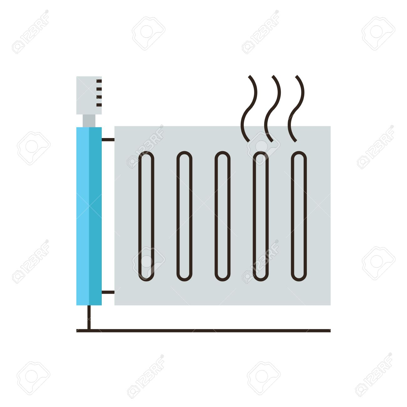 Dünne Linie Symbol Mit Flachen Design-Element Von Heizkörper ...