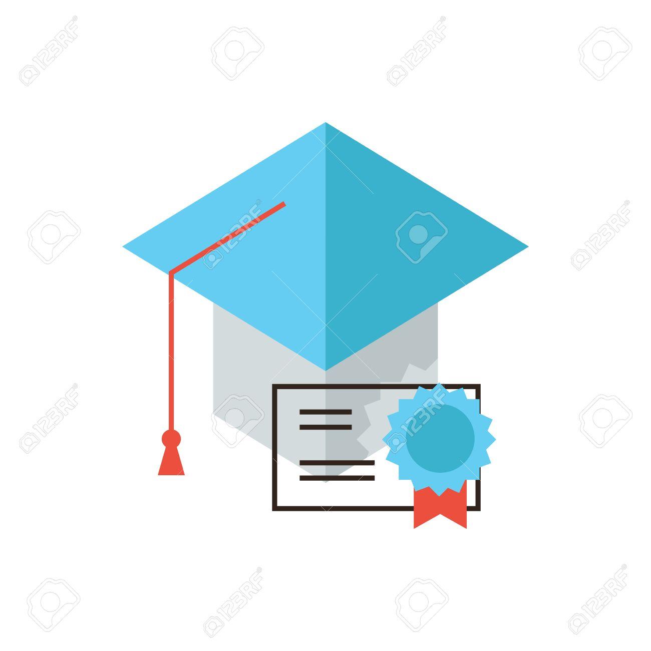 Icono De Línea Delgada Con Elemento De Diseño Plano De La Educación  Certificado 9b7ff44f767