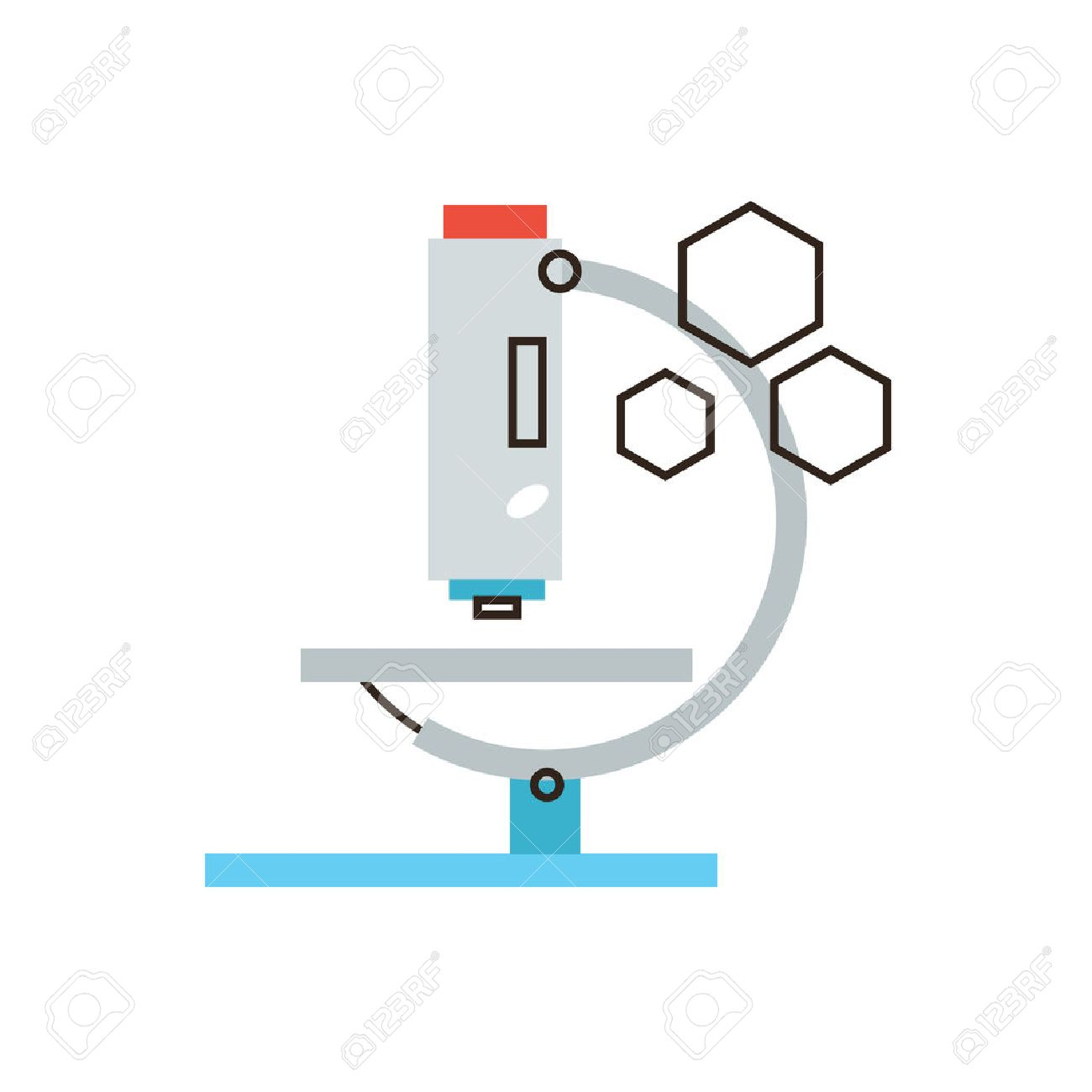 Thin line icon with flat design element of laboratory analysis with imagens thin line icon with flat design element of laboratory analysis with medical microscope chemical test by lab equipment scientific experiment ccuart Images