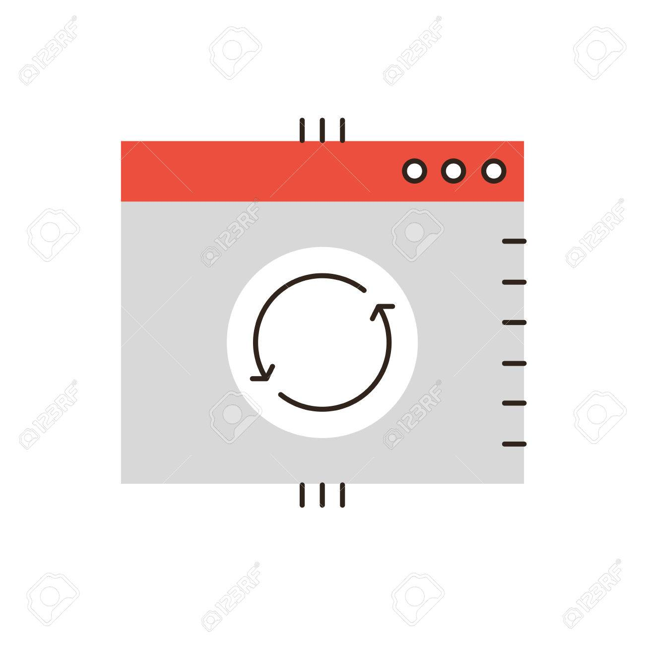 Thin Line Icon With Flat Design Element Of Update System Window Message Upgrade Software Sync