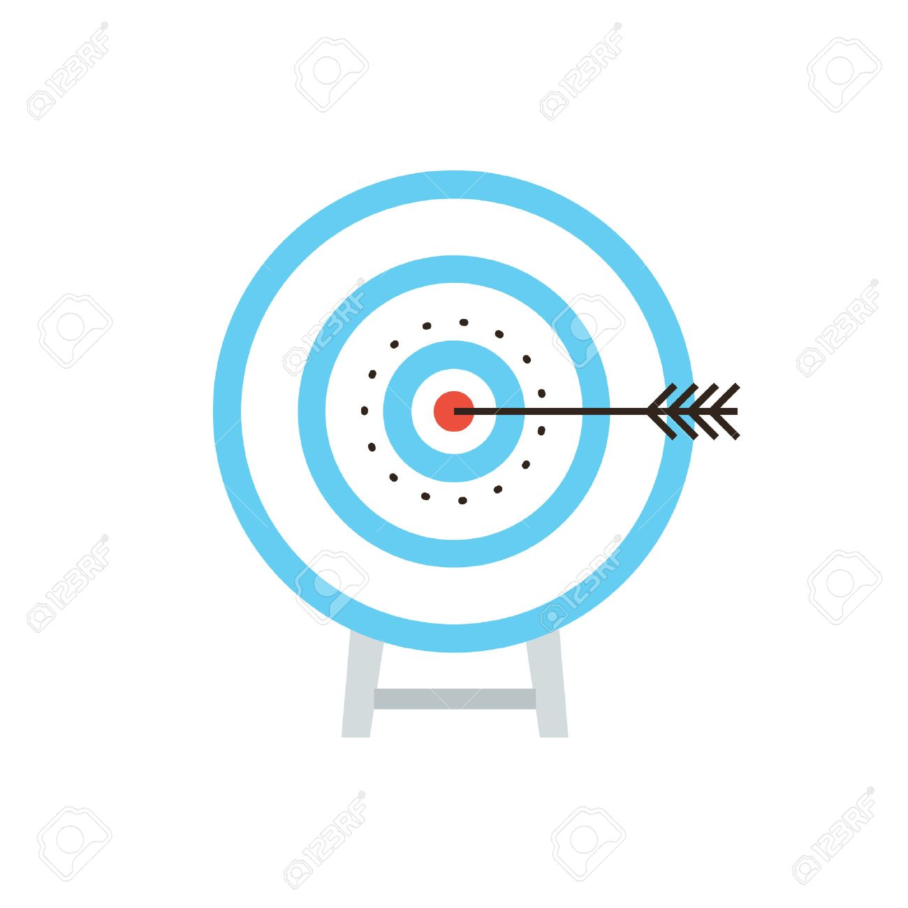 Thin line icon with flat design element success shot on target,