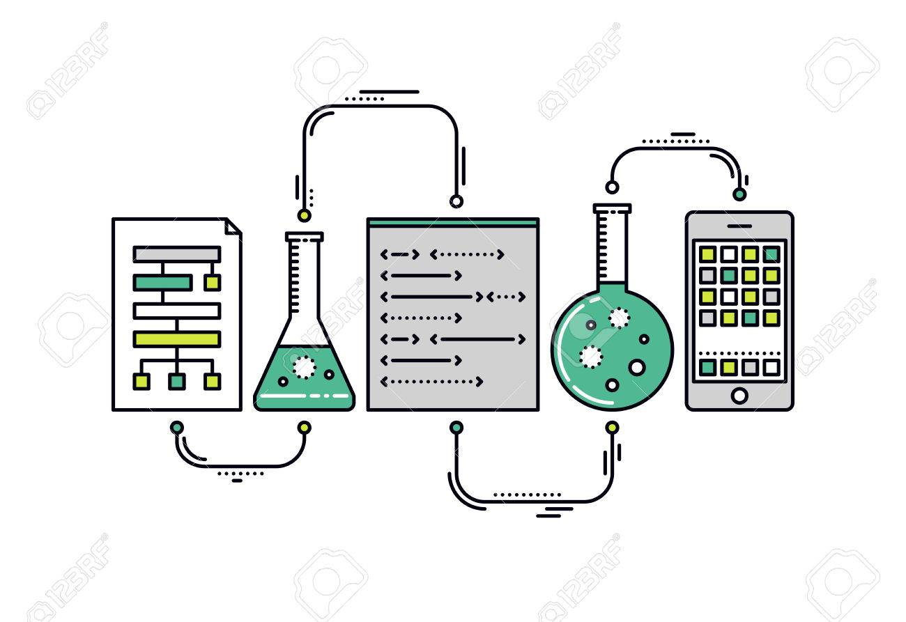 Thin line flat design of laboratory experiment with scientific datum, chemical reaction process, science big data analysis, mobile app. Modern vector illustration concept, isolated on white background. - 39951148