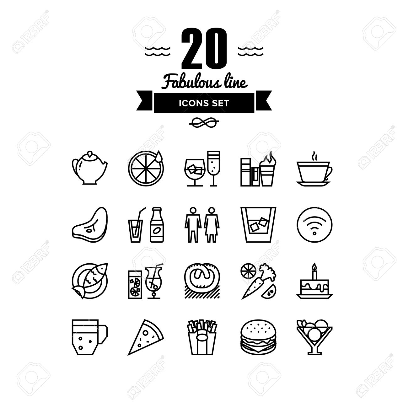 thin lines icons set of restaurant food and beverages, cafe menu