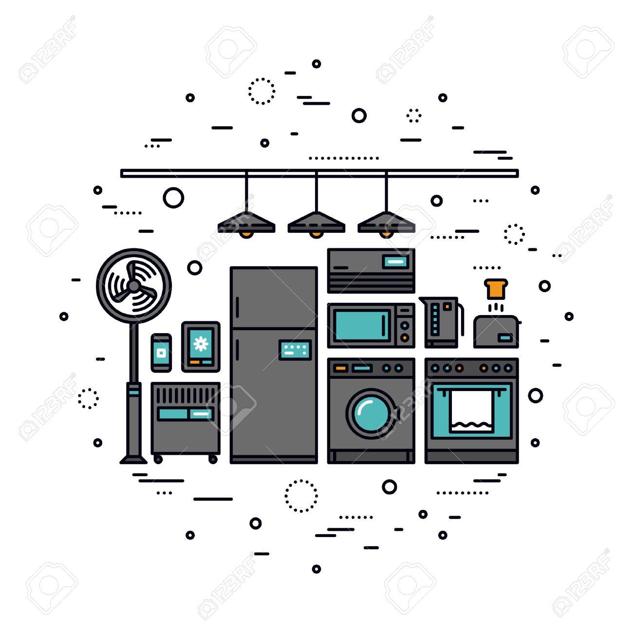 Thin Line Flat Design Of Smart Home Appliances, Future Digital ...