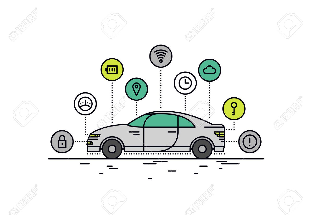 Thin line flat design of driverless car technology features, autonomous vehicle system capability, internet of things road transport. Modern vector illustration concept, isolated on white background. Stock Vector - 41973894