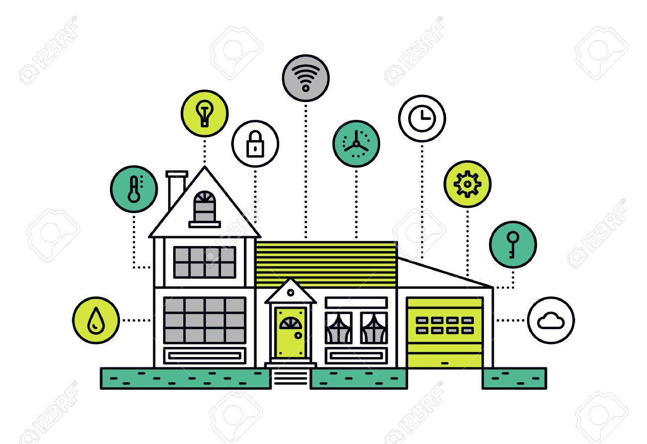 Smart House Technology Delectable Thin Line Flat Design Of Smart House Technology System With Inspiration