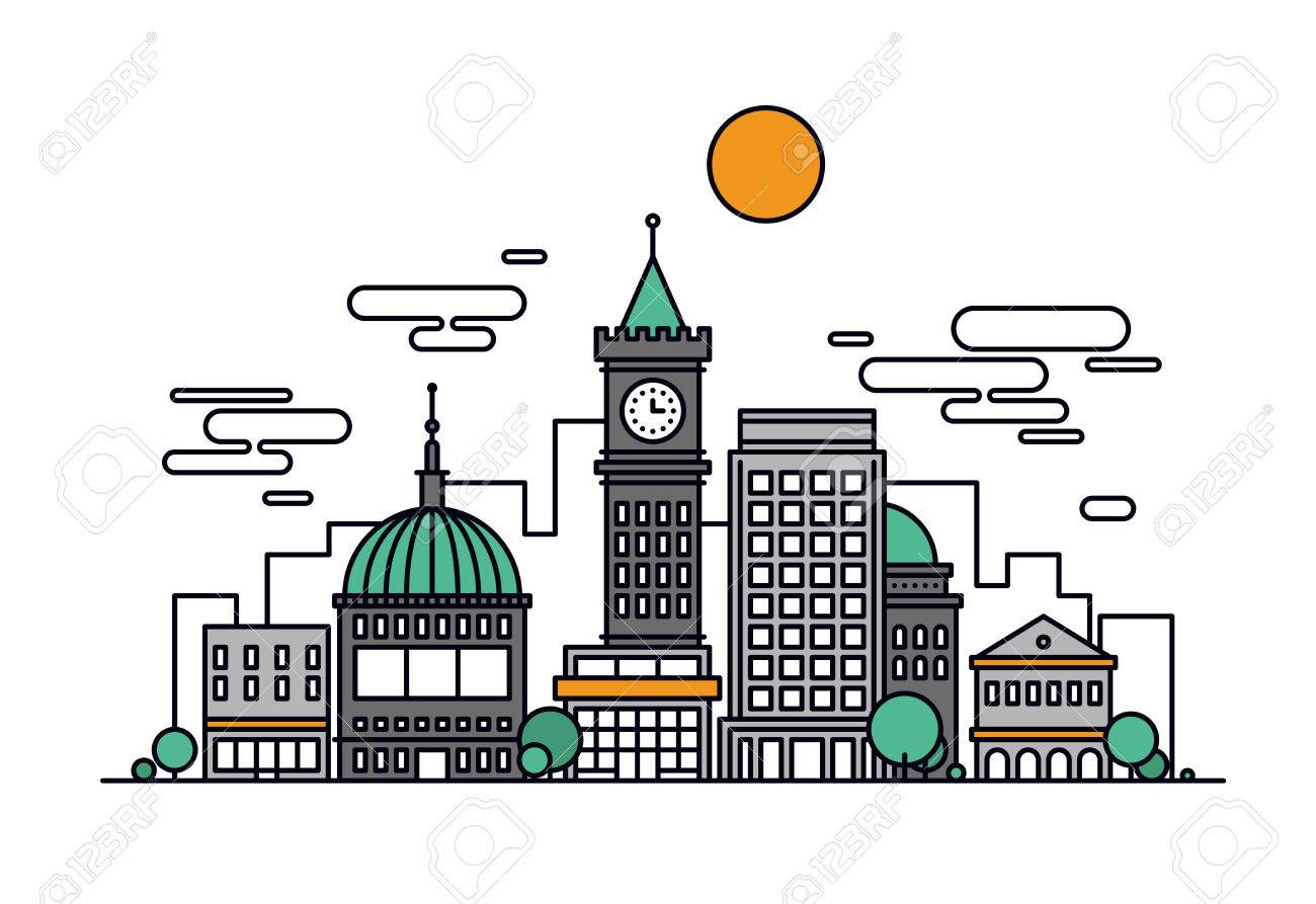 Thin Line Flat Design Of Business City Architecture Major