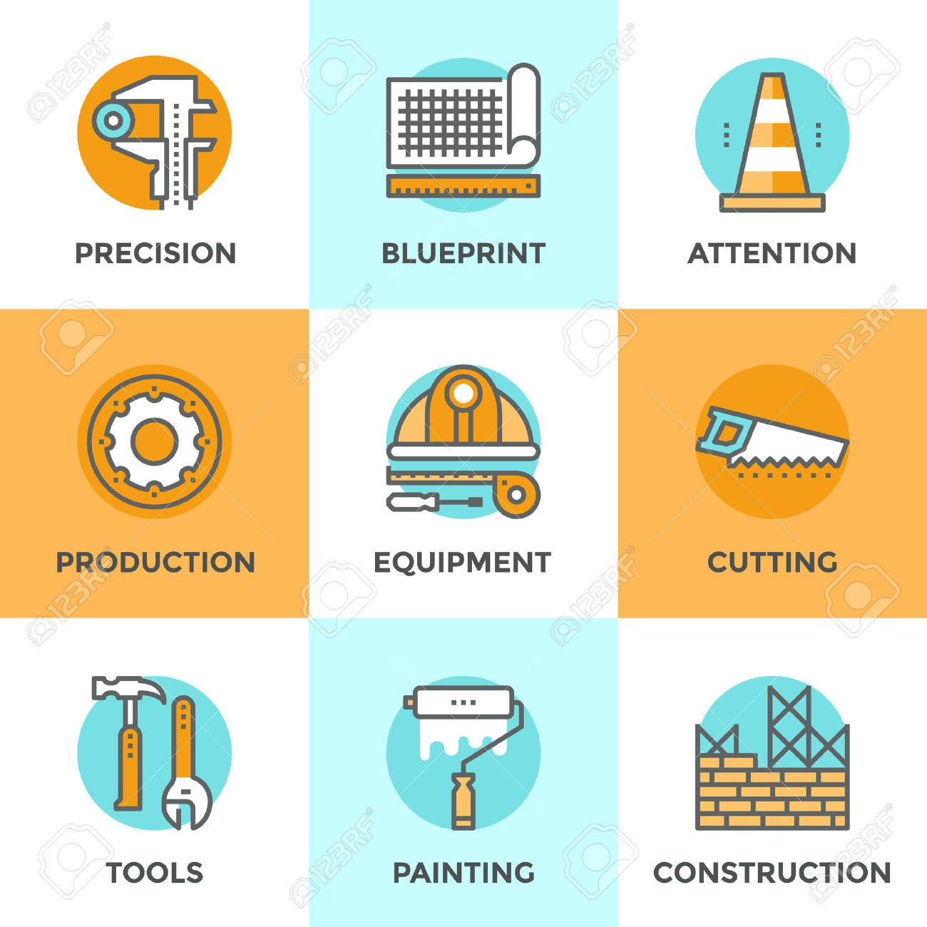line icons set flat design elements of engineering line icons set flat design elements of engineering construction equipment building architecture structure
