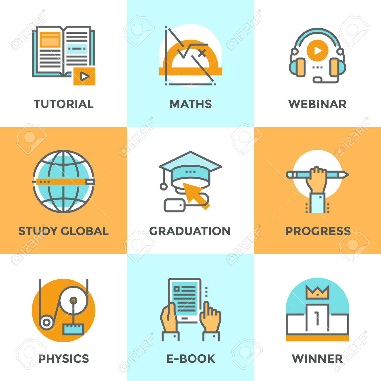Line icons set with flat design elements of education progress, global study, e-book learning, webinar audio course, winner pedestal, physics and math learn. Modern vector pictogram collection concept. Stock Vector - 42877652