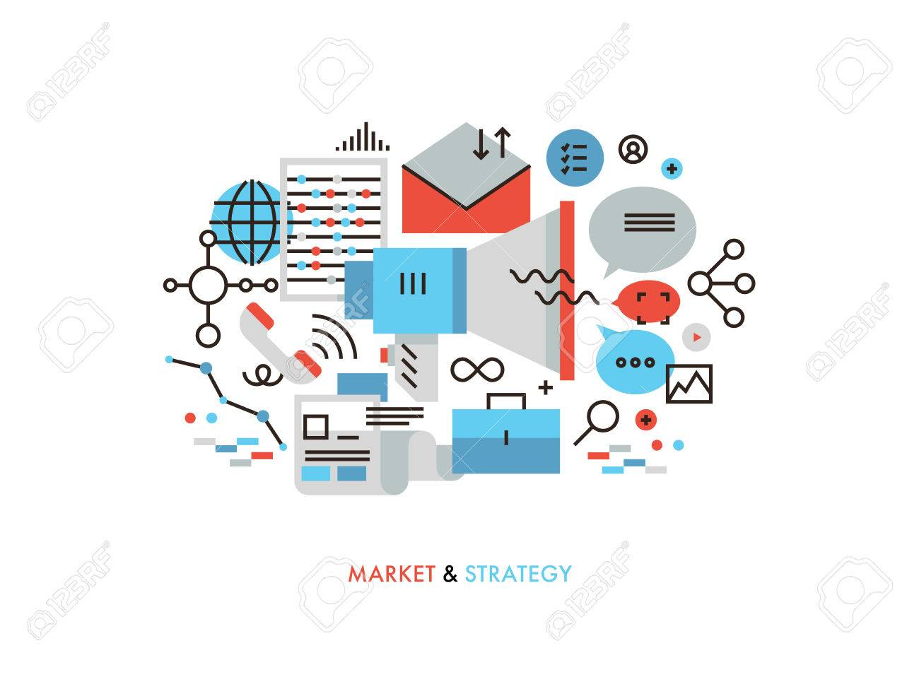 Thin line flat design of market strategy analysis online marketing thin line flat design of market strategy analysis online marketing research global business promotion ccuart Image collections