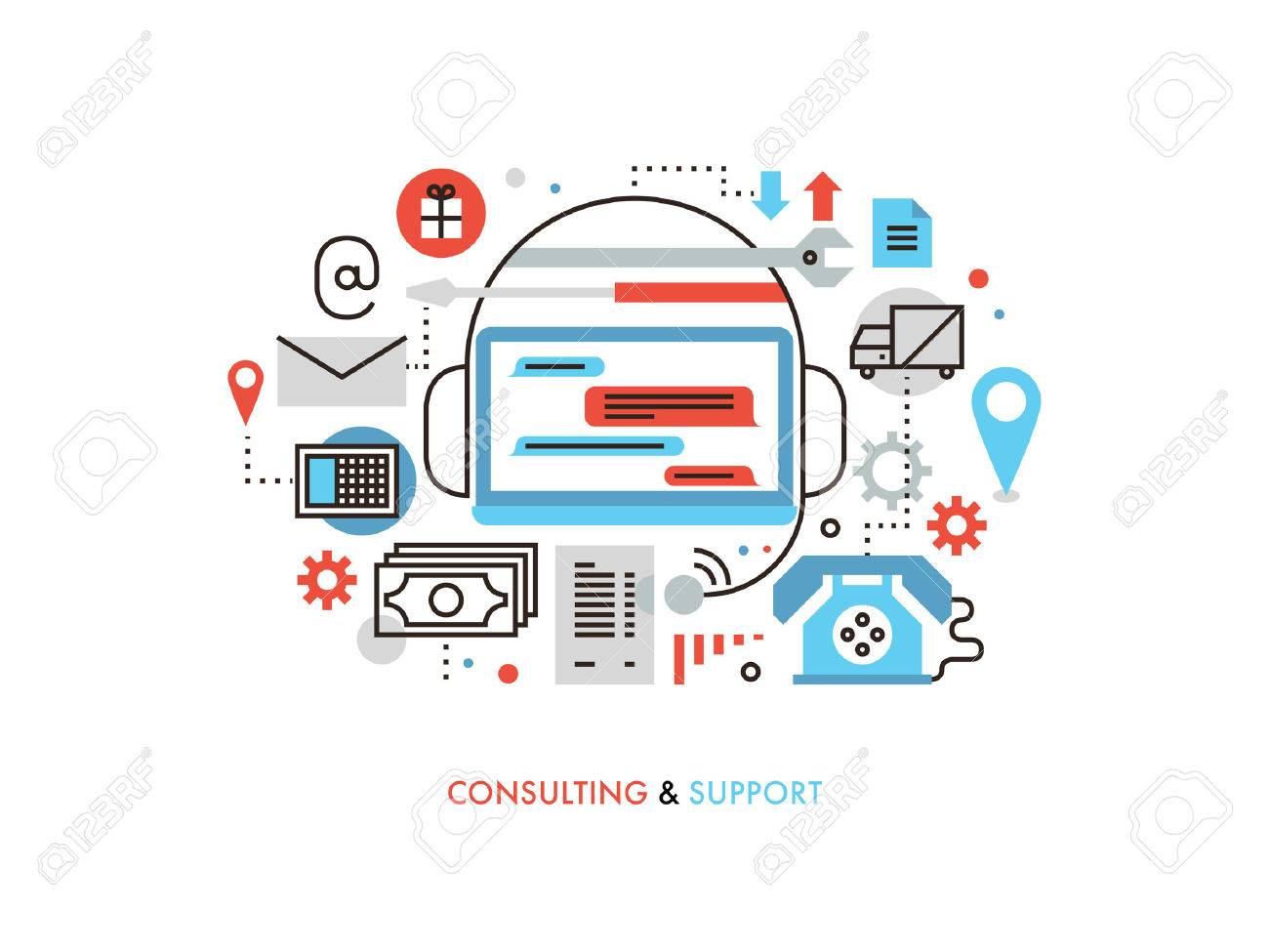 Thin line flat design of customer service information, technical support advice, online assistance by chat, business consulting center. Modern vector illustration concept, isolated on white background. - 42877818