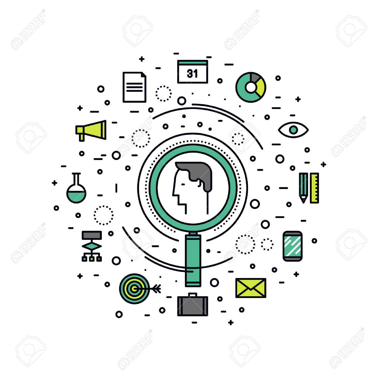 Thin line flat design of professional headhunting of business people, human resource search for best candidate, employment hunting. Modern vector illustration concept, isolated on white background. Stock Vector - 43550569