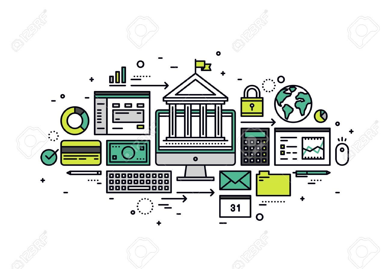Thin line flat design of online banking account, secure money transaction, computer access for financial service and business operation. Modern vector illustration concept, isolated on white background. Stock Vector - 43550573