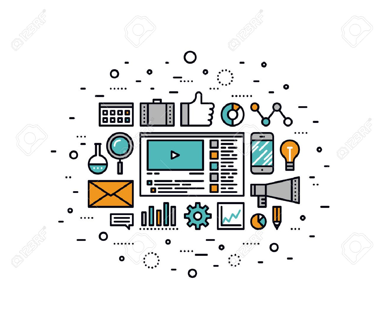 Thin line flat design of social media marketing, online business solution, viral video production and promotion, digital strategy idea. Modern vector illustration concept, isolated on white background. Stock Vector - 43550581