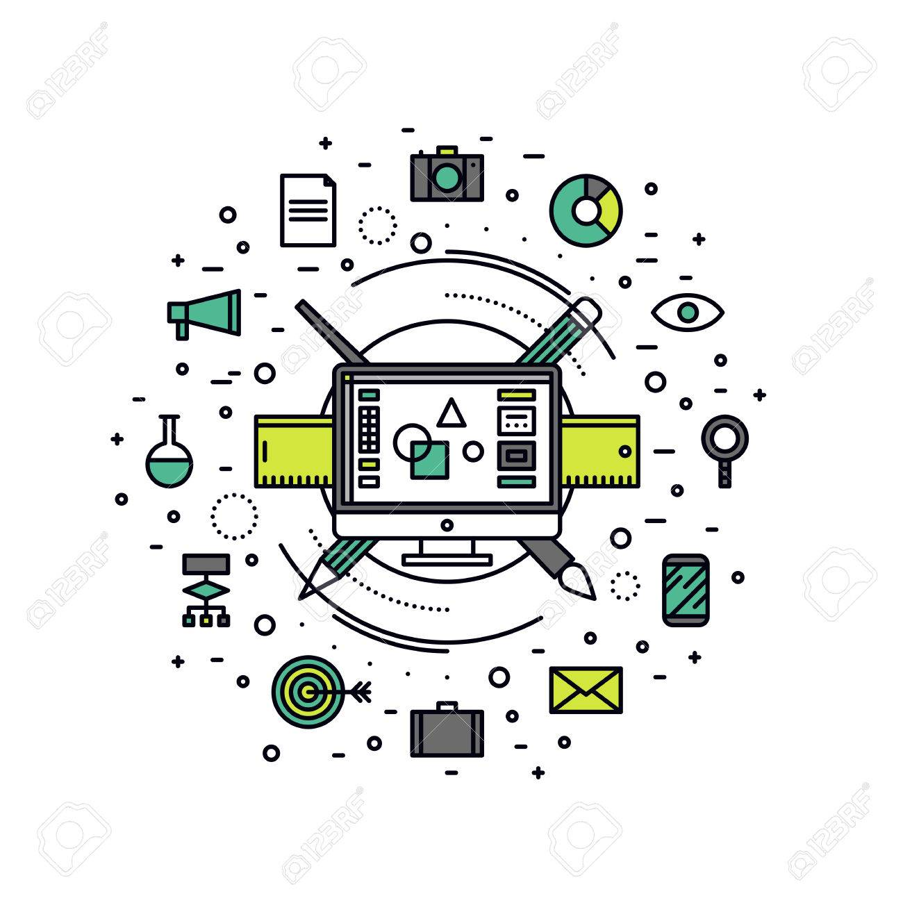 Thin line flat design of graphic designer essential equipment, computer design editor for creating web advertising and digital art. Modern vector illustration concept, isolated on white background. Stock Vector - 43550588