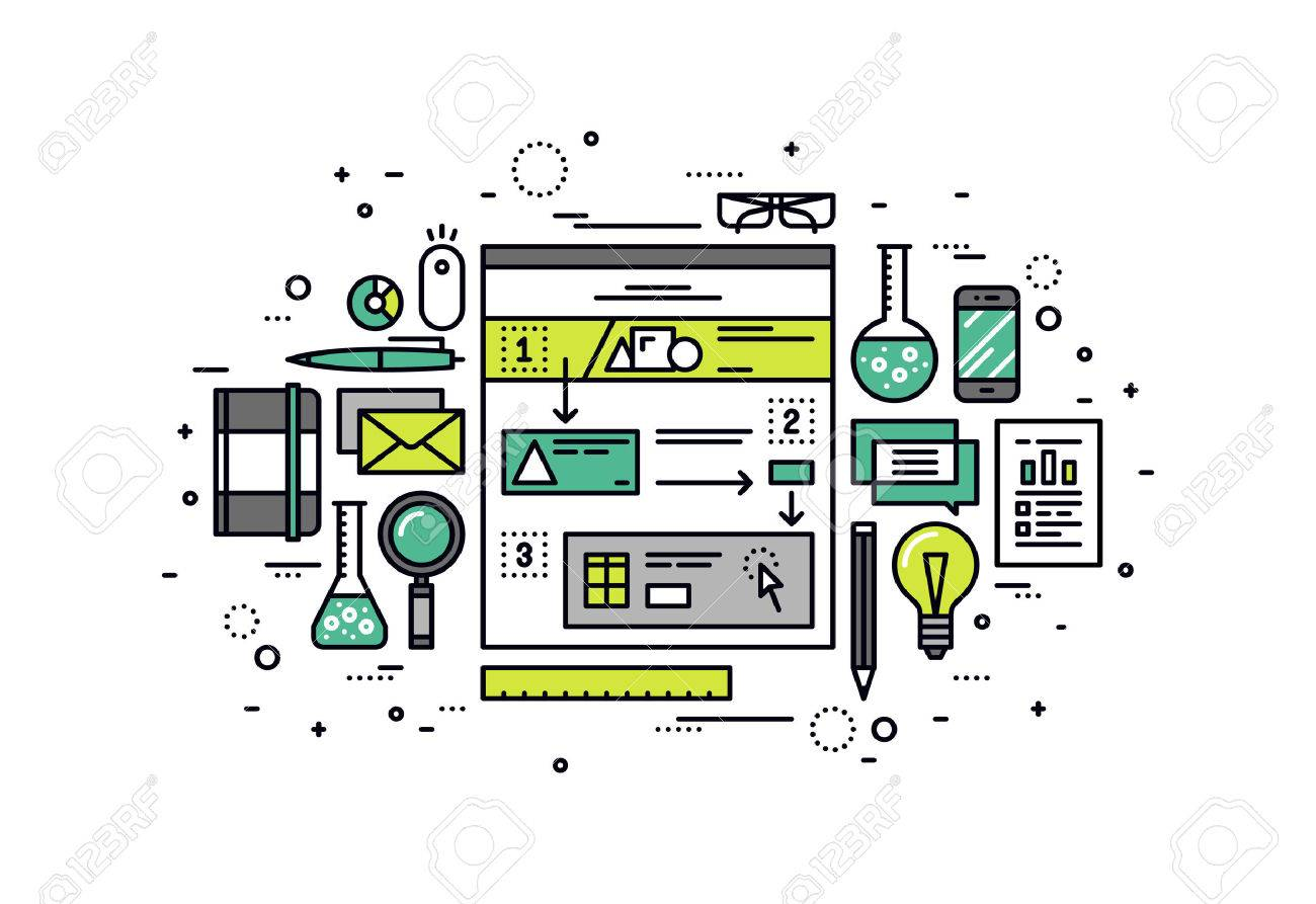 Thin line flat design of user-friendly scenario building, website user experience research, web story sketching for structure usability. Modern vector illustration concept, isolated on white background. Stock Vector - 43550599
