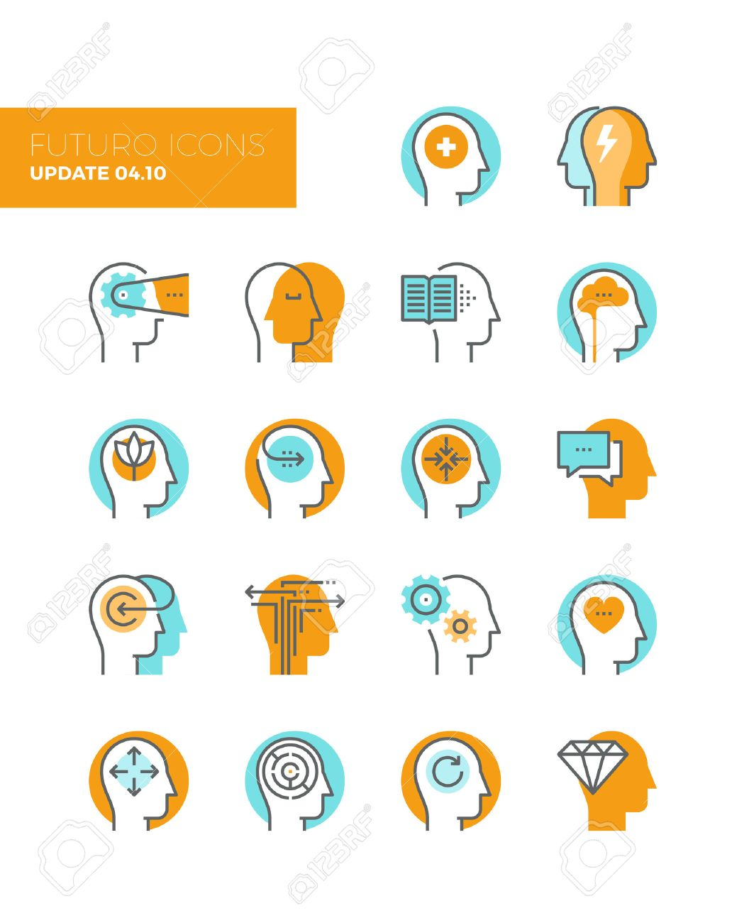 Line icons with flat design elements of mental health and autism problem, human brain process, people mind transformation, head thinking. Modern infographic vector icon pictogram collection concept. Stock Vector - 43582117