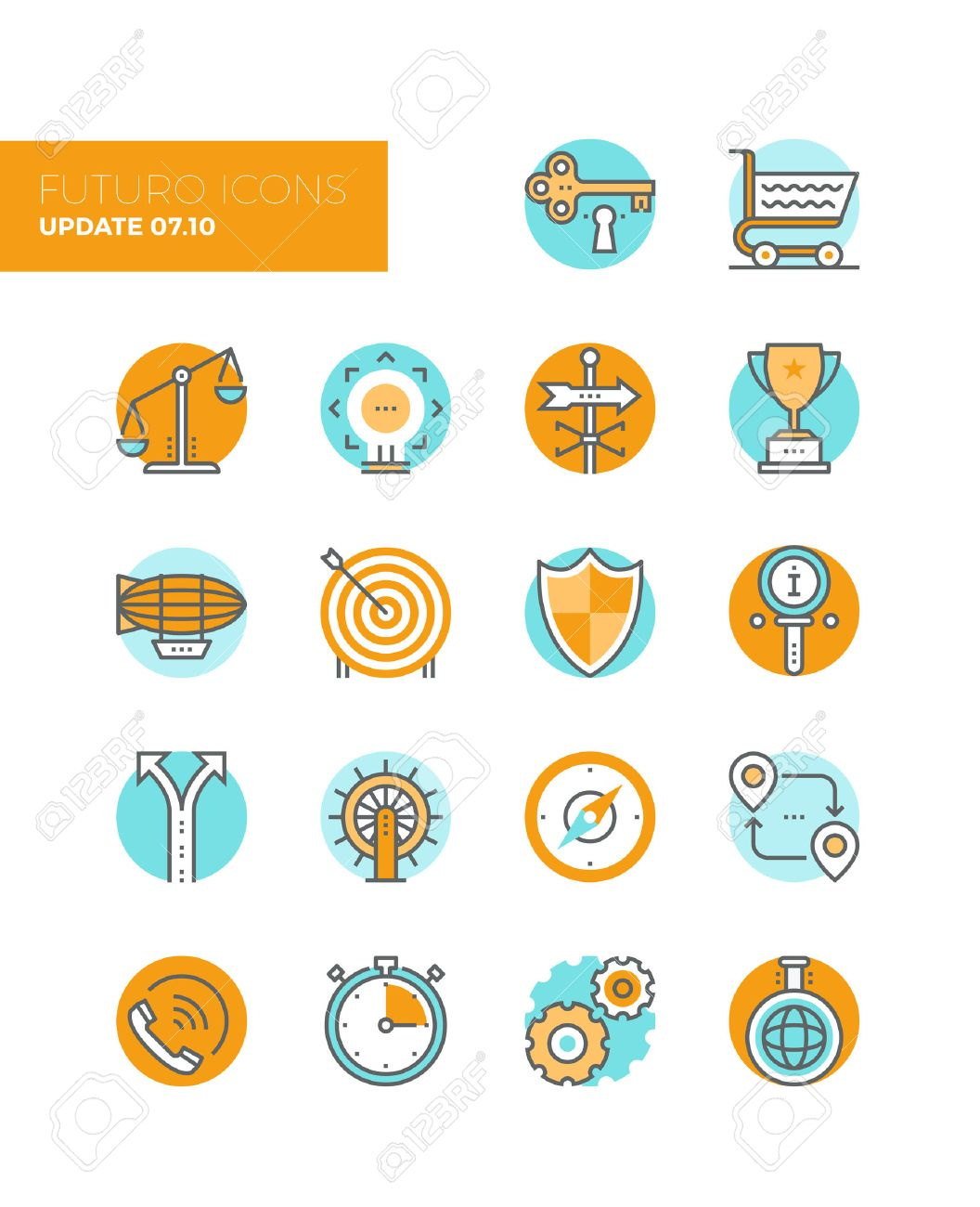 Line icons with flat design elements of business solution symbol, market balance, marketing goal target, key to success, various metaphors. Modern infographic vector icon pictogram collection concept. Stock Vector - 43582199