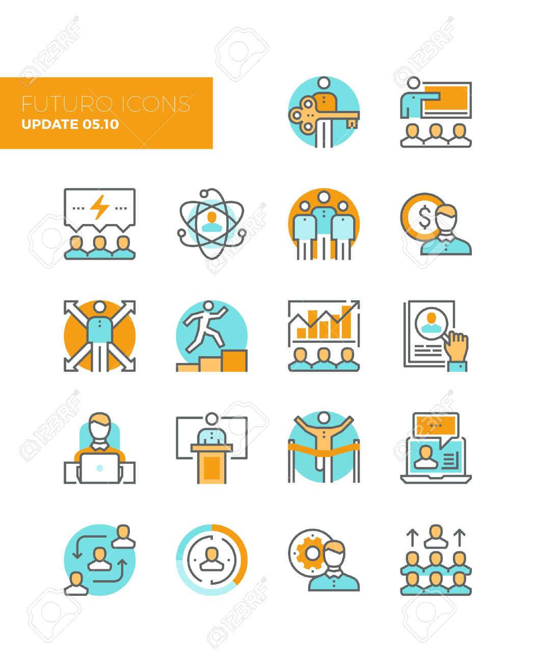 Line Icons With Flat Design Elements Of Team Building Organization ...