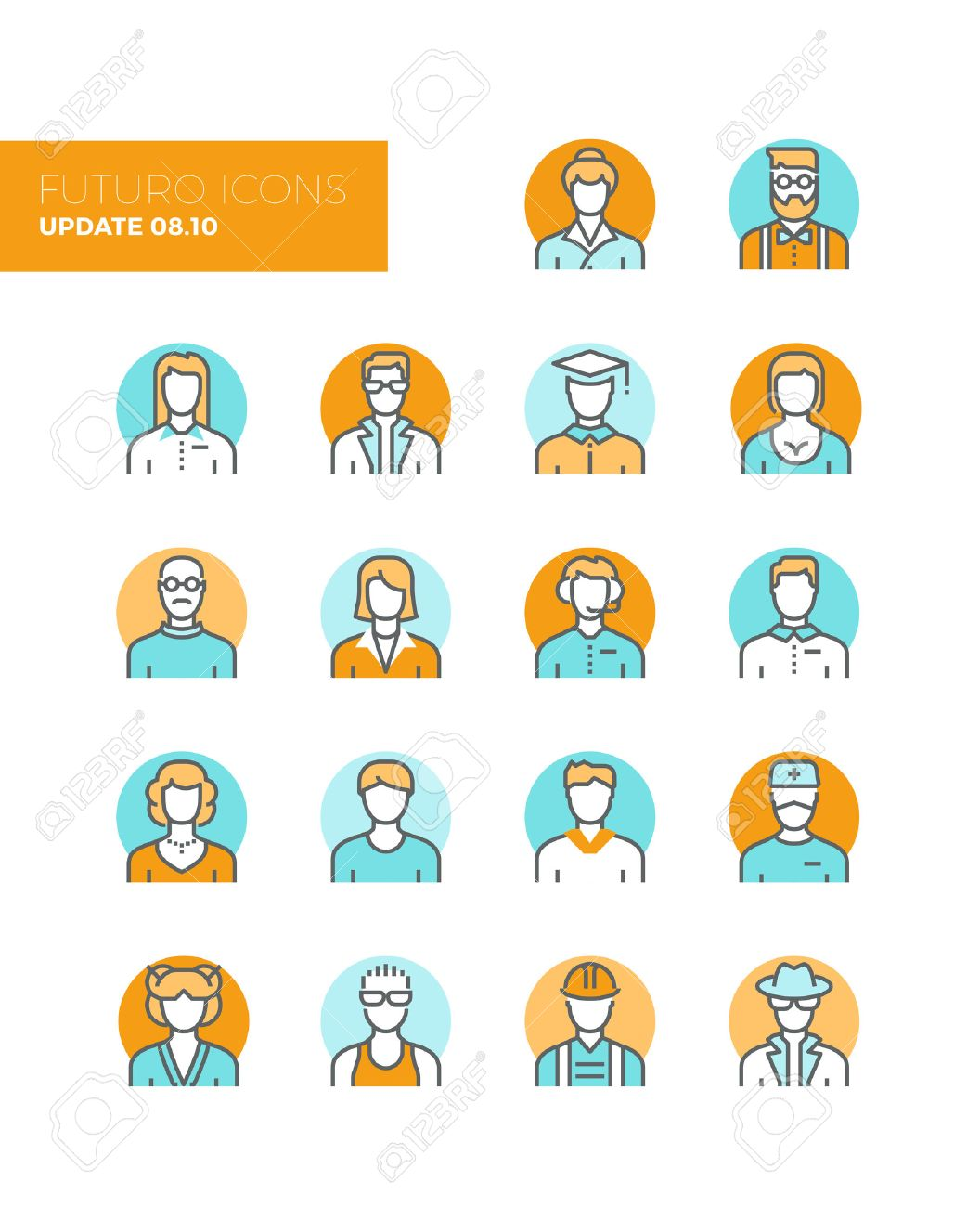 Line icons with flat design elements of people avatars profession, professional human occupation, basic characters set, employee variety. Modern infographic vector icon pictogram collection concept. Stock Vector - 43582056