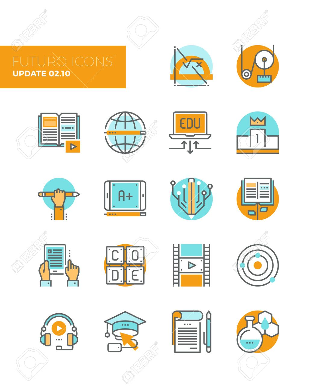 Line icons with flat design elements of online education technology, people learning applied science, knowledge base growth, learn to code. Modern infographic vector icon pictogram collection concept. Stock Vector - 43582191