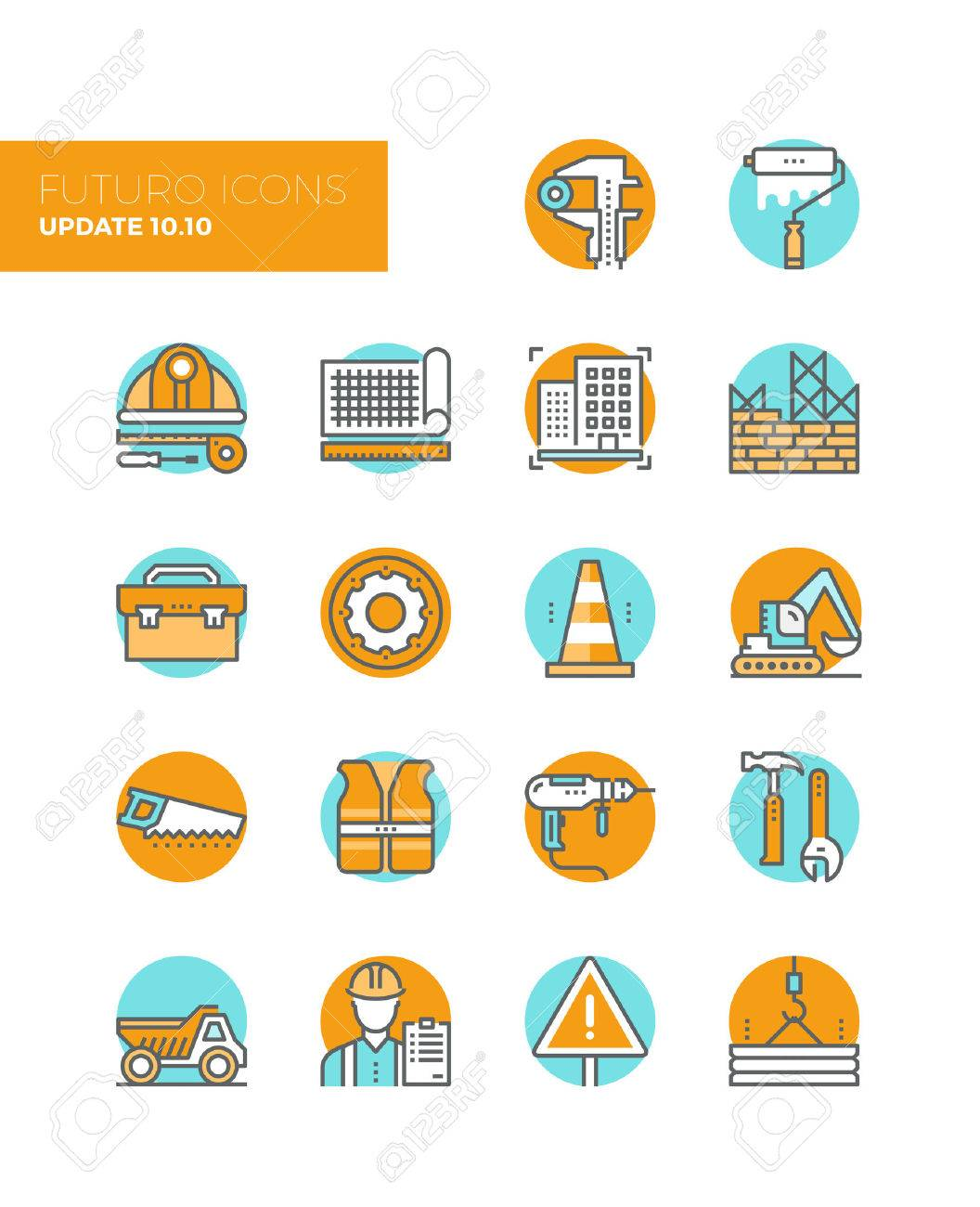 Line icons with flat design elements of building construction site process, engineering drawing production, worker toolbox with equipment. Modern infographic vector icon pictogram collection concept. Stock Vector - 43582221