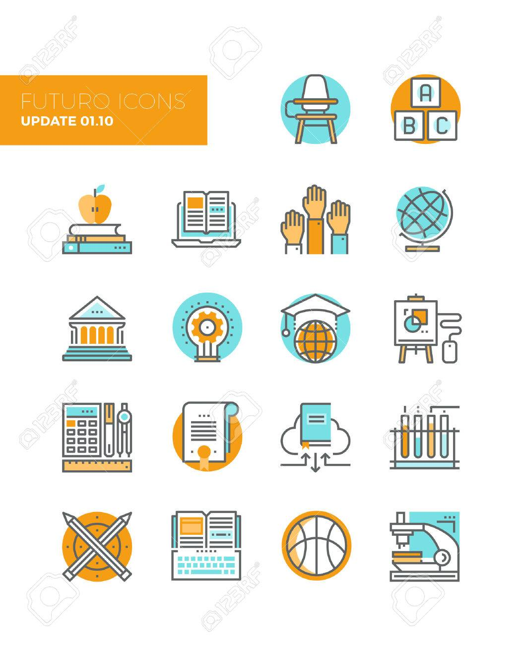 Line icons with flat design elements of education technology for teaching online, studying books with cloud library, innovation research. Modern infographic vector icon pictogram collection concept. Stock Vector - 43582313