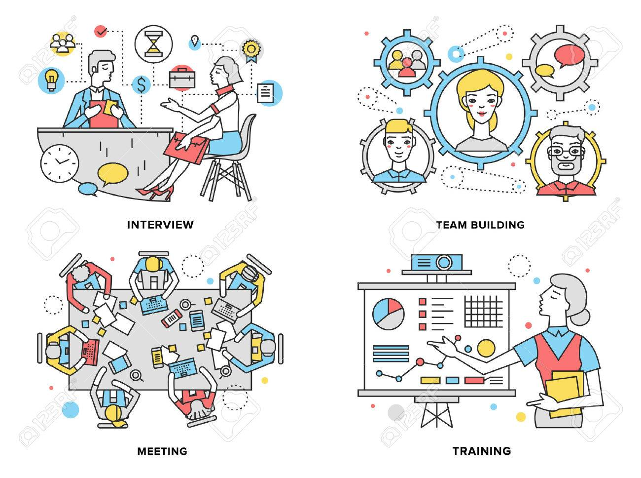 Flat line illustration set of human resources training progress, mentor coaching people for rise potential, business team building process. Stock Vector - 44515140