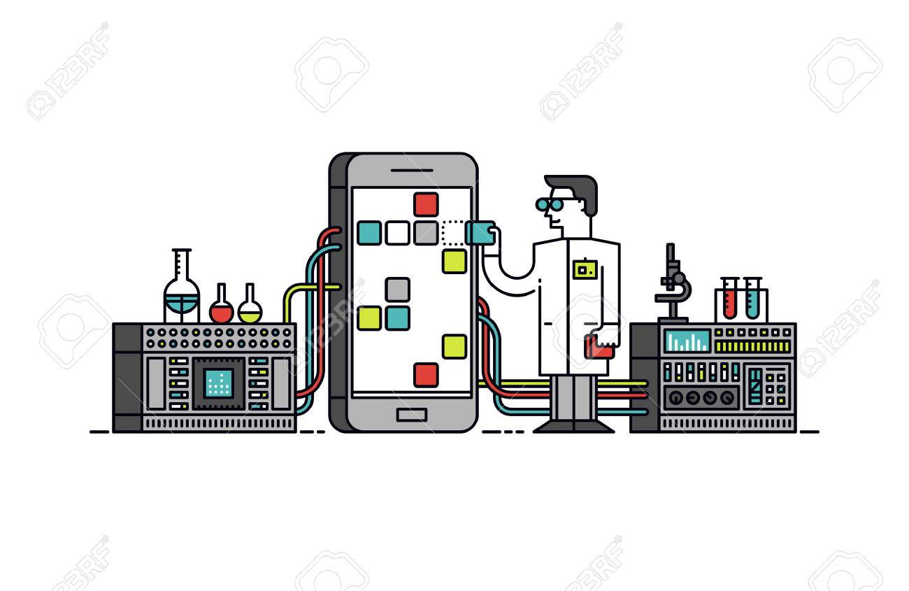 Thin line flat design of lab scientist holding mobile app store solution Stock Vector - 44515337