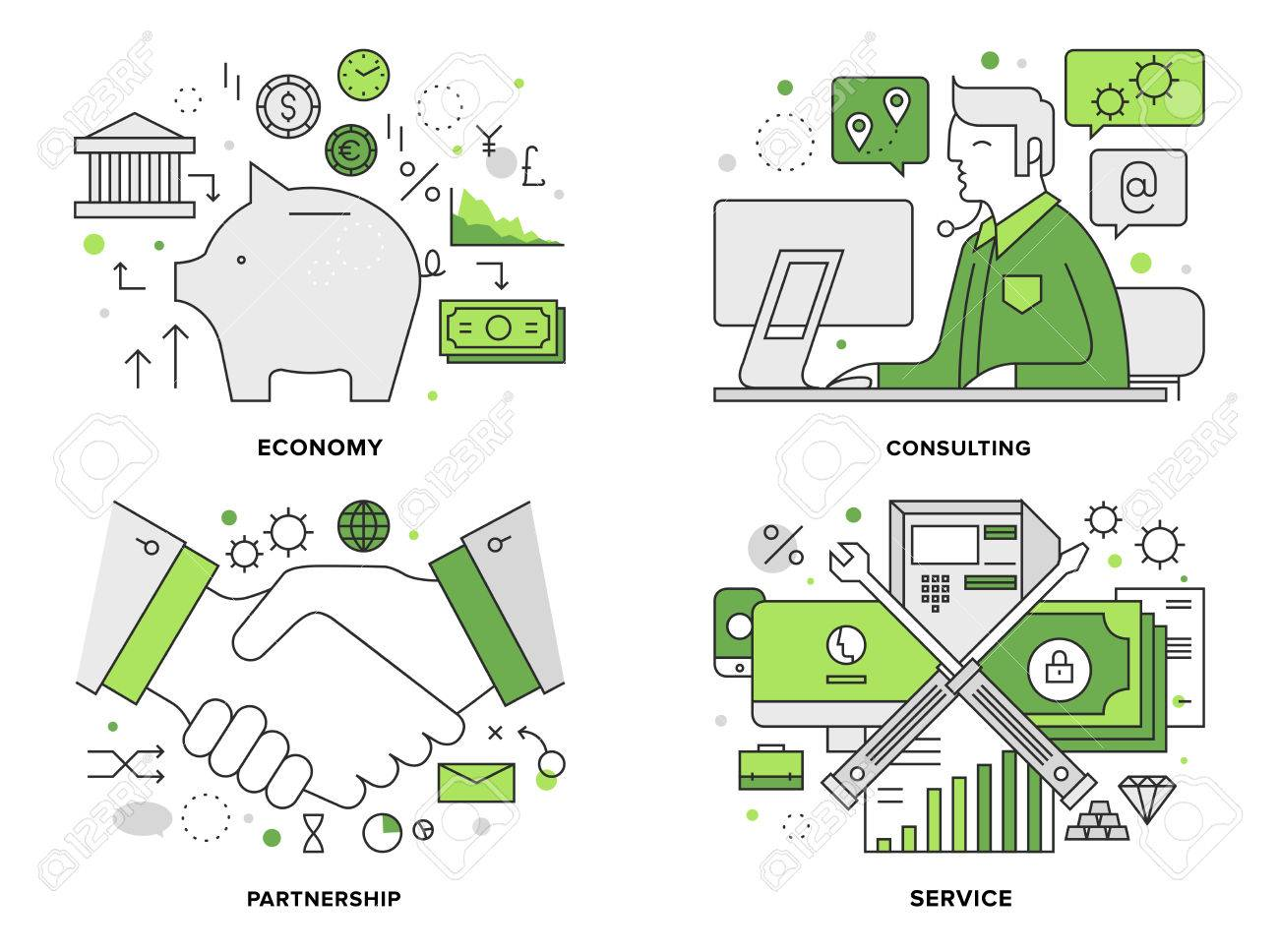 Flat line illustration set of corporate banking services Stock Vector - 44515490