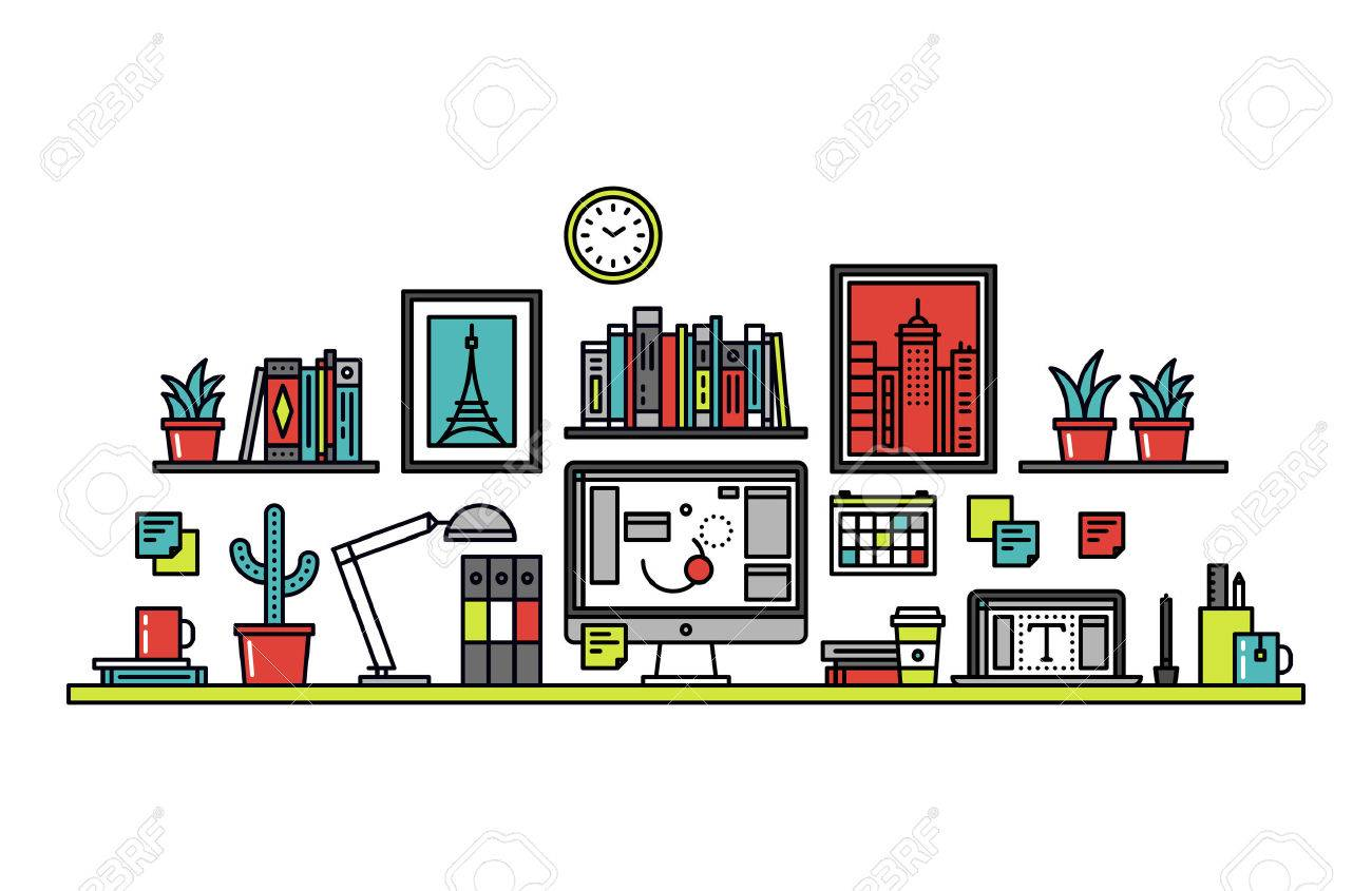 Thin line flat design of graphic designer workplace desk Stock Vector - 44515599