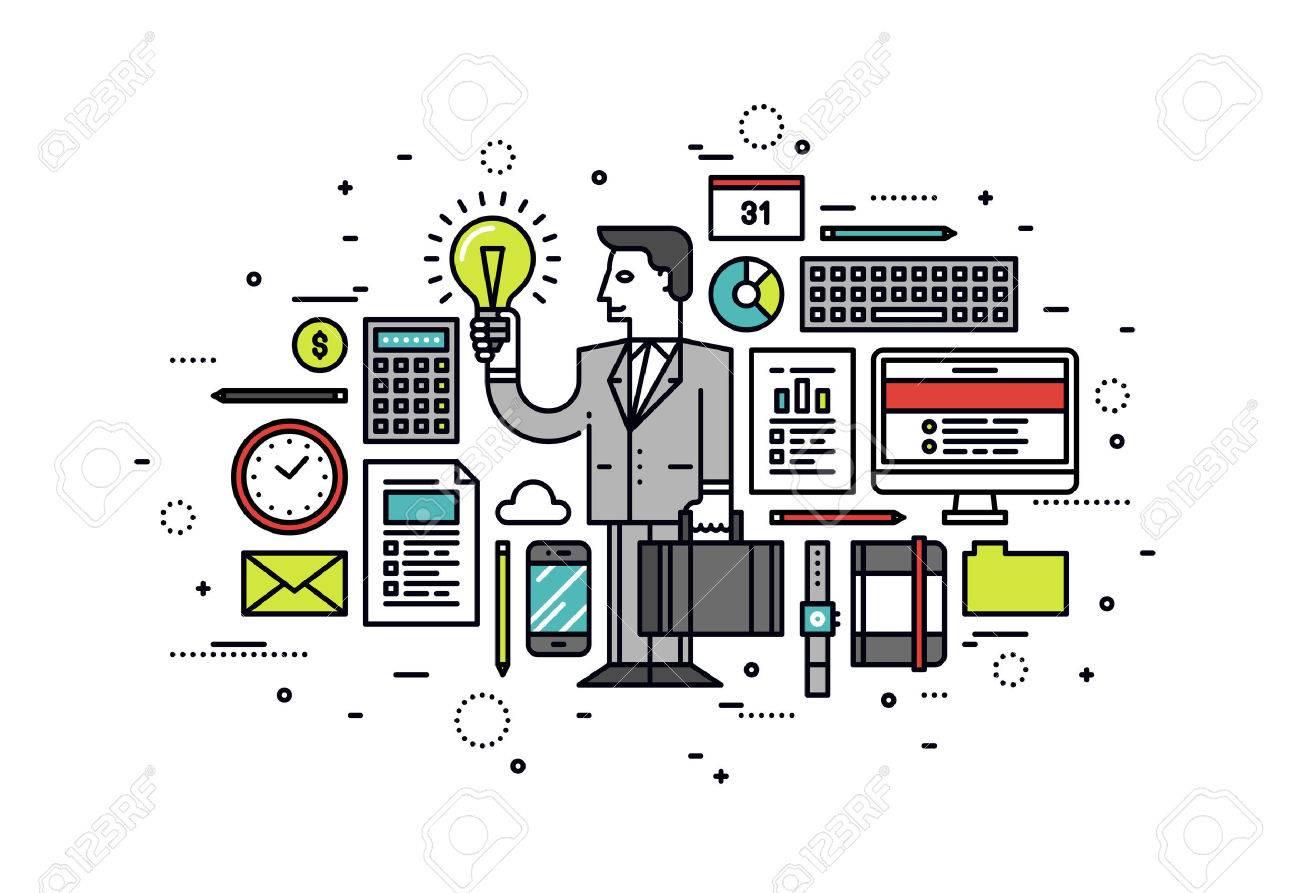 Thin line flat design of success business innovation idea Stock Vector - 44515607
