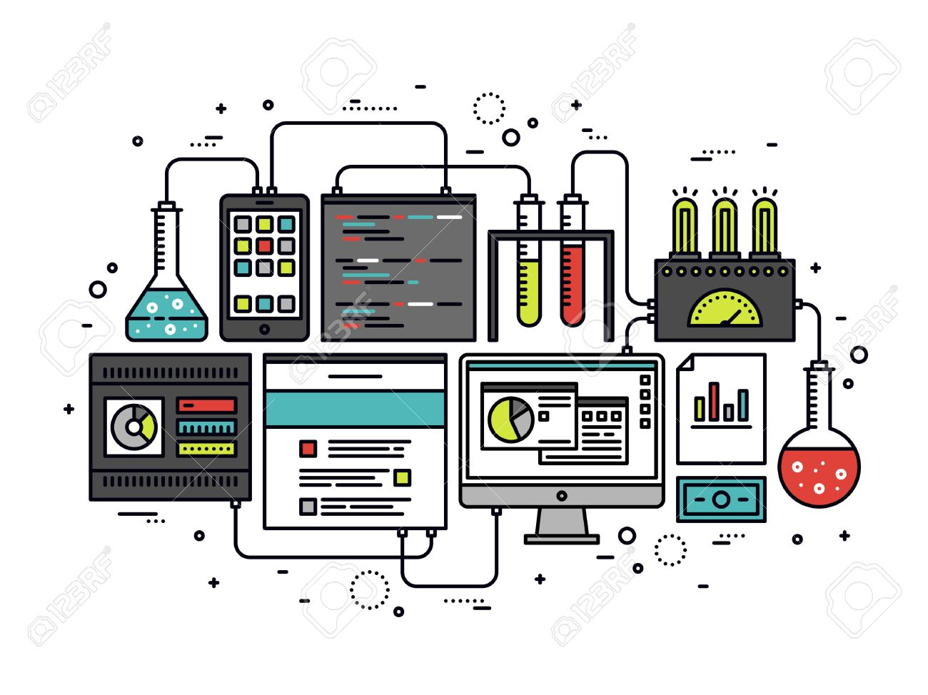 Thin line flat design of internet website content research, web CMS analysis measure, product testing technology, big data analytics. Modern vector illustration concept, isolated on white background. Stock Vector - 44515651