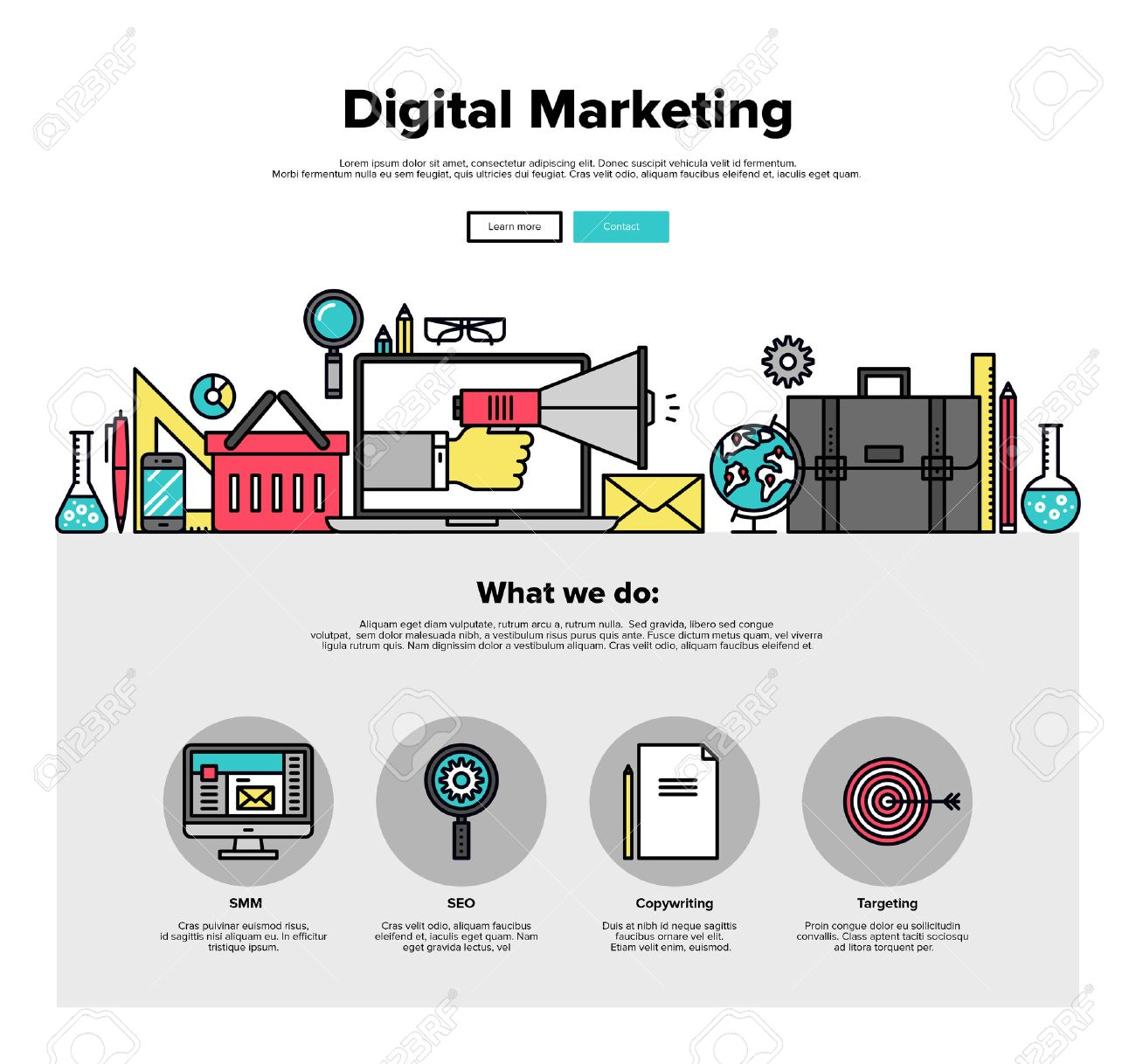 One Page Web Design Template With Thin Line Icons Of Digital Royalty Free Cliparts Vectors And Stock Illustration Image 46612007