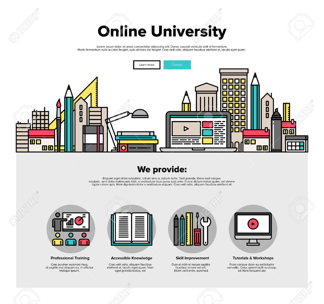 One page web design template with thin line icons of internet campus workshop learning, online university space for coworking education. Flat design graphic hero image concept, website elements layout. Stock Vector - 46612085