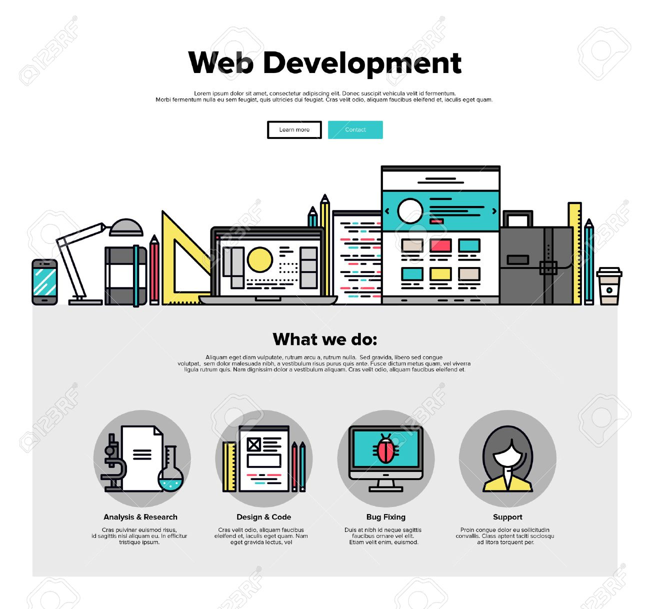 One page web design template with thin line icons of web studio services. Website optimization, SEO analysis, bug testing and fixing. Flat design graphic hero image concept, website elements layout. Stock Vector - 46612088