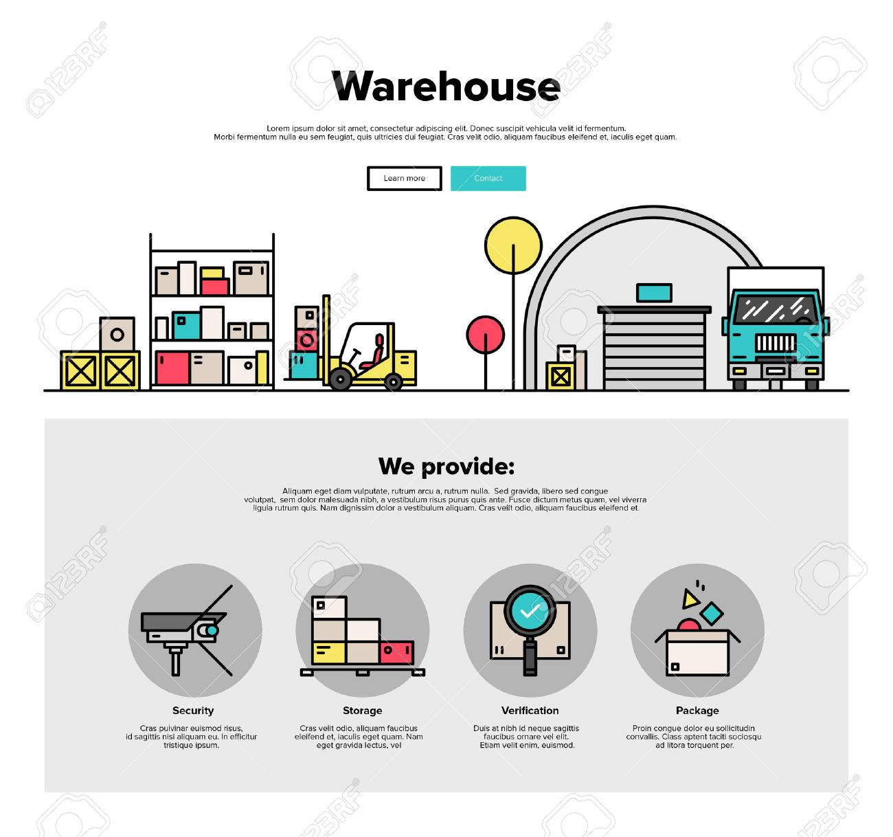 One Page Web Design Template With Thin Line Icons Of Wholesale