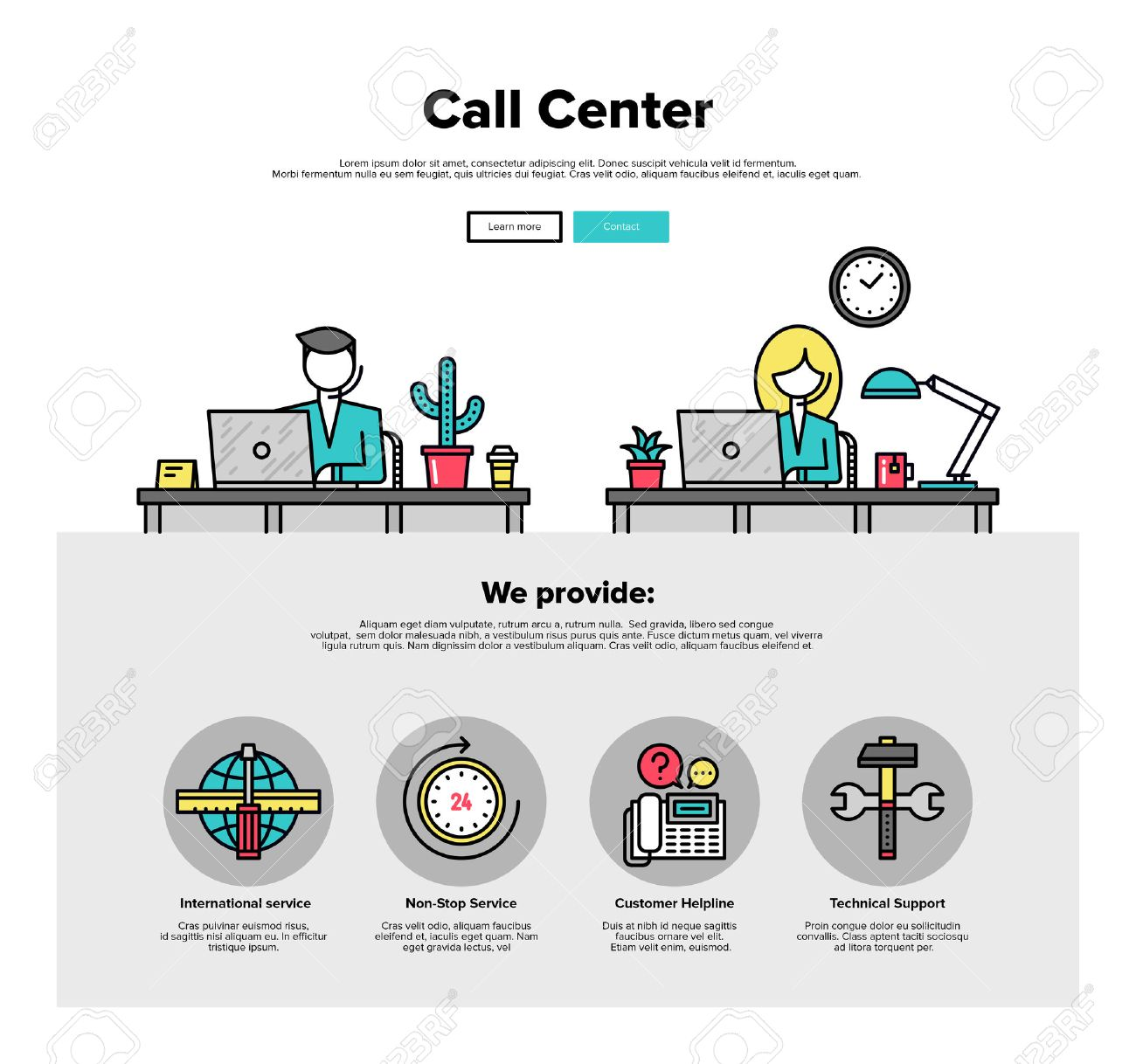 2ebf8f63c99 One page web design template with thin line icons of call center support