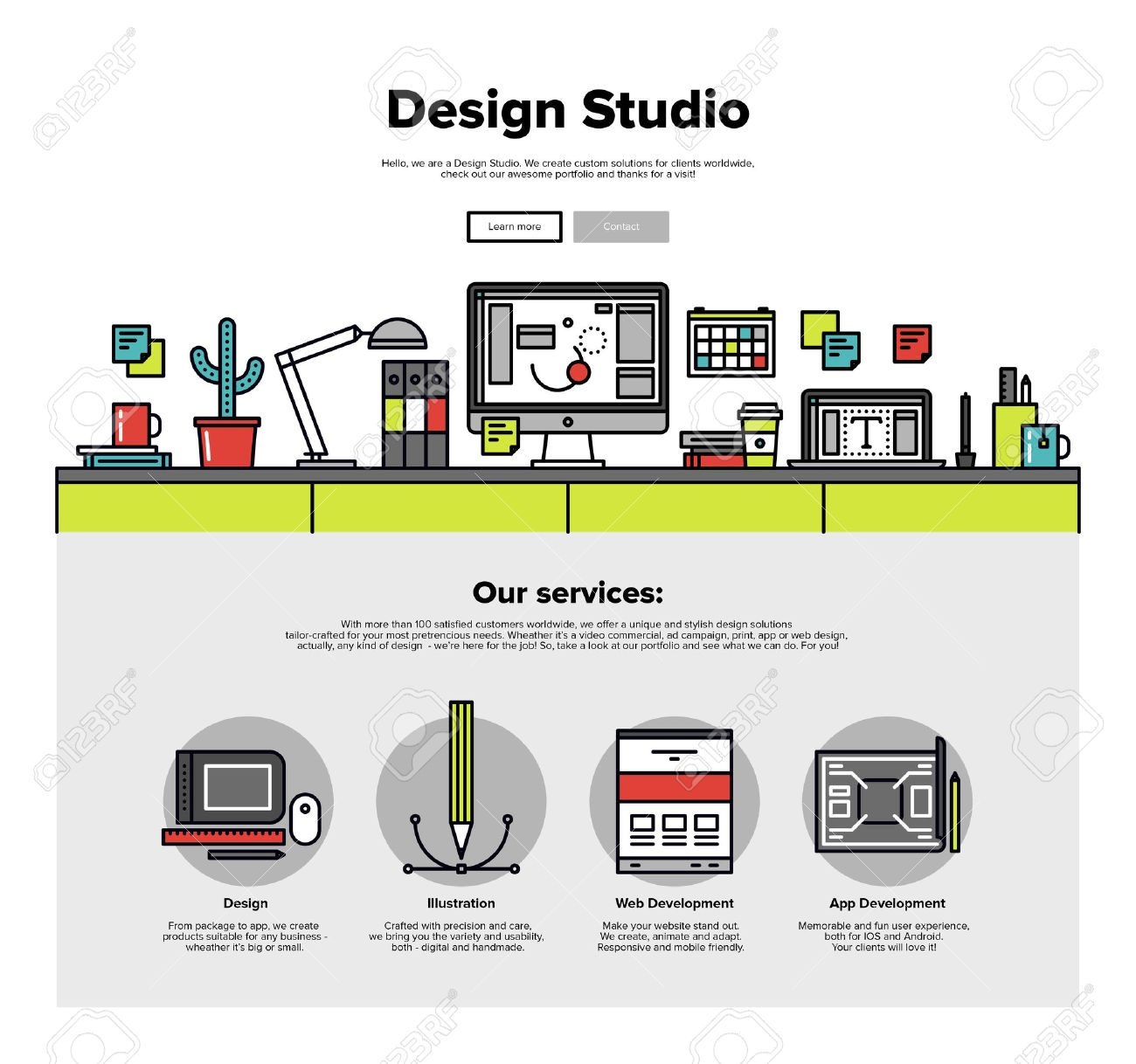 One Page Web Design Template With Thin Line Icons Of Design Studio ...