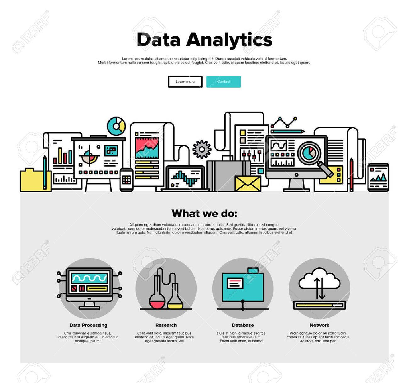 One page web design template with thin line icons of business data analytics, finance statistics, web search analysis, database research. Flat design graphic hero image concept, website elements layout. Stock Vector - 46612093