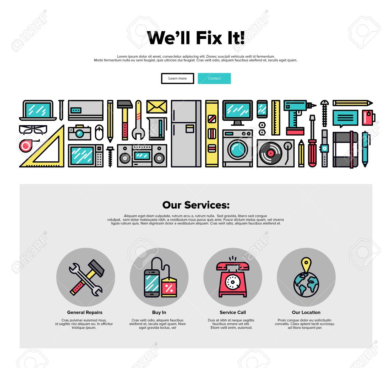 Einer Seite Web Design-Vorlage Mit Dünnen Linie Ikonen Der ...