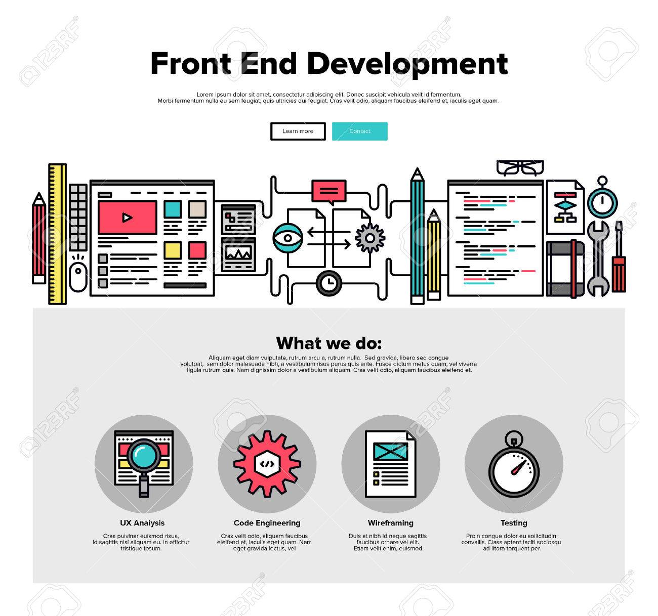 One Page Web Design Template With Thin Line Icons Of Front End Royalty Free Cliparts Vectors And Stock Illustration Image 46612097