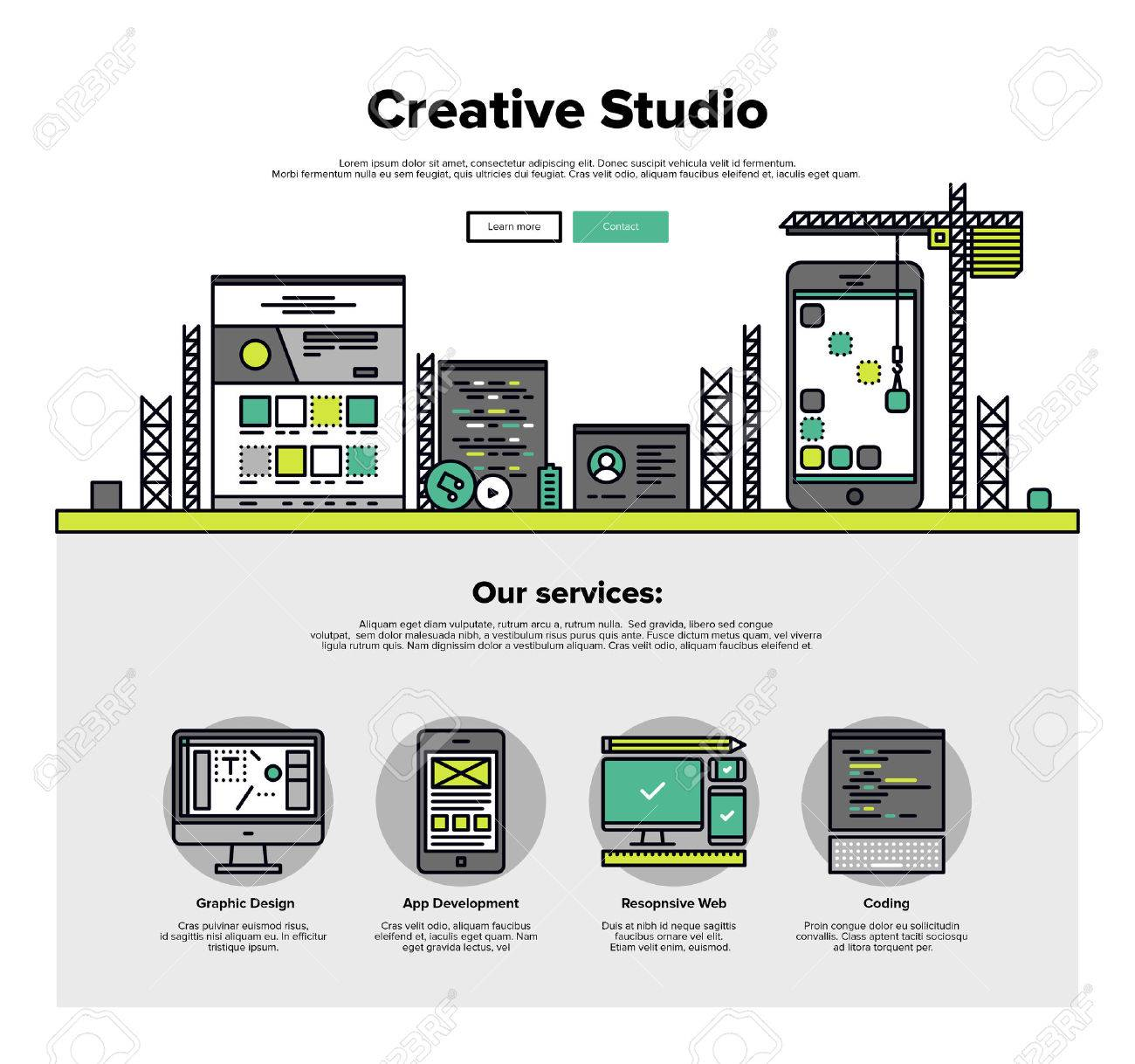 One page web design template with thin line icons of creative studio services like web coding for responsive design and app development. Flat design graphic hero image concept, website elements layout. Stock Vector - 46612098