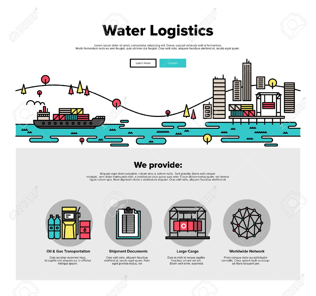One page web design template with thin line icons of cargo freight shipping by water, sea transport delivery, export logistics control. Flat design graphic hero image concept, website elements layout. Stock Vector - 46612099